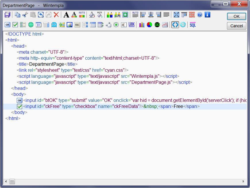 Wintempla Web editor